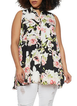 Plus Size Sleeveless Floral Button Front Shirt - 8407056122697