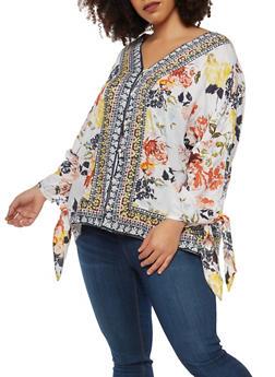 Plus Size Floral Border Print Dolman Sleeve Top - 8407056122702