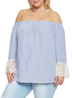 Plus Size Striped Crochet Trim Off the Shoulder Top - 8407056122779