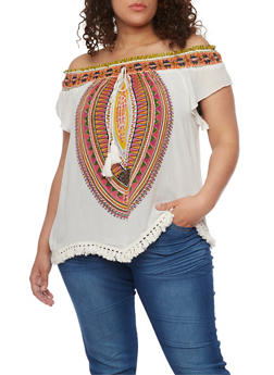 Plus Size Smocked Off the Shoulder Dashiki Top - 8407056122837
