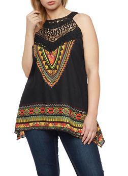 Plus Size Sleeveless Aztec Top with Sharkbite Hem - 8407056122838