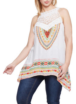 Plus Size Sleeveless Aztec Top with Sharkbite Hem - 8407056122838