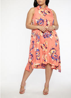 Plus Size Floral Shift Dress - 8407056125365