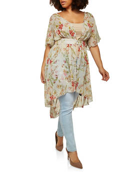 Plus Size Sheer Floral High Low Maxi Top - 8407056125601