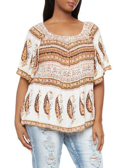 Plus Size Peasant Top With Boho Print,PEACH,medium