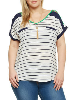 Plus Size Striped Top with Lattice Paneling and Necklace - 8407062705347