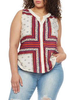 Plus Size V Neck Sleeveless Printed Top - 8407063508112