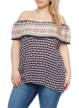 Plus Size Off the Shoulder Printed Top with Ruffle Neckline - 8407068707980