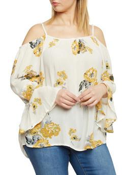 Plus Size Floral Print Cold Shoulder Top - 8407068707991