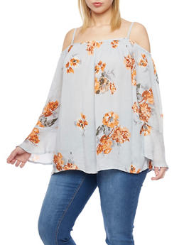 Plus Size Floral Print Cold Shoulder Top - 8407068707991