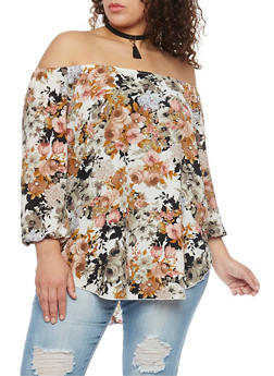 Plus Size Floral Off the Shoulder Peasant Blouse with Choker - 8407072244132