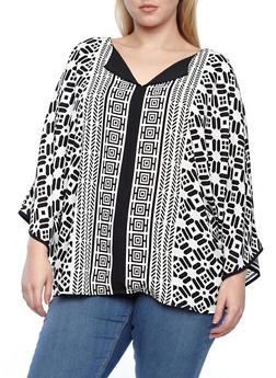 Aztec Print Split Neck Blouse With Kimono Sleeves - 8407072883040