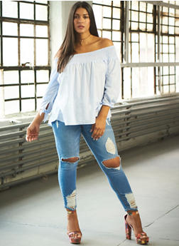 Plus Size Striped Off the Shoulder Batwing Peasant Top - 8407073381600