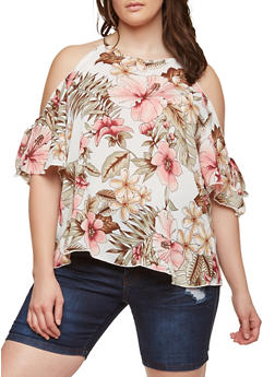 Plus Size Floral Cold Shoulder Top - 8407074015208