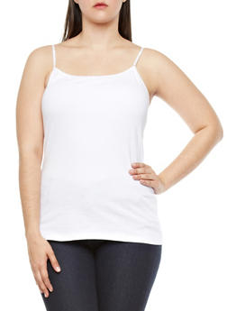 Plus Size Tank Top with Built-In Bandeau - WHITE - 8413054260061