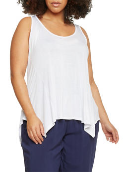 Plus Size Sharkbite Hem Tank Top - 8413054263683