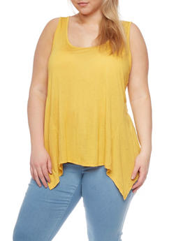 Plus Size Sharkbite Hem Tank Top - MUSTARD - 8413054263683