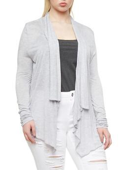 Plus Size Open Front Cardigan With Sharkbite Hem,HEATHER,medium