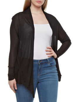 Plus Size Sheer Open-Front Cardigan With Pockets,BLACK,medium