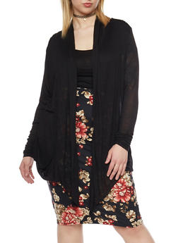 Plus Size Open Front Lightweight Cardigan - 8416054266161