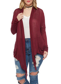 Plus Size Open Front Lightweight Cardigan - BURGUNDY - 8416054266161