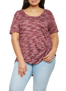 Plus Size Space Dye Top with High Low Hem - 8416054268468