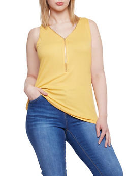Plus Size Zip V Neck Rib Knit Tank Top - 8416054268625