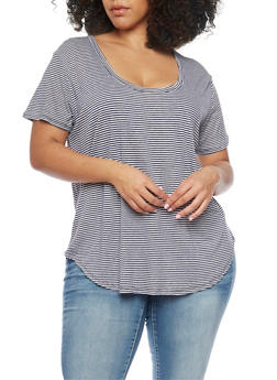 Plus Size Short Sleeve Striped T Shirt - 8416054269409