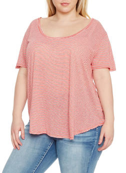 Plus Size Short Sleeve Striped T Shirt - 8416054269409
