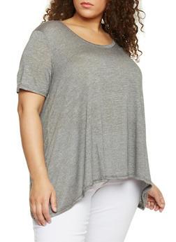 Plus Size Marled Scoop Neck Sharkbite T Shirt - 8416054269426