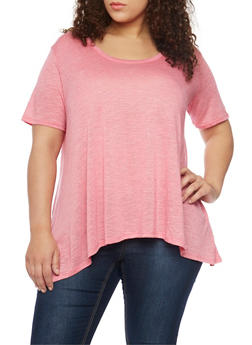 Plus Size Marled Scoop Neck Sharkbite T Shirt - 8416054269426