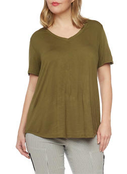 Plus Size V Neck High Low T Shirt - OLIVE - 8416054269485