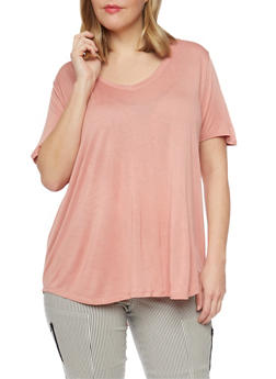 Plus Size V Neck High Low T Shirt - 8416054269485