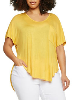 Plus Size Front Pocket High Low Top - MUSTARD - 8416054269487