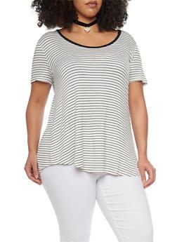 Plus Size Striped Scoop Neck T Shirt - 8416054269488