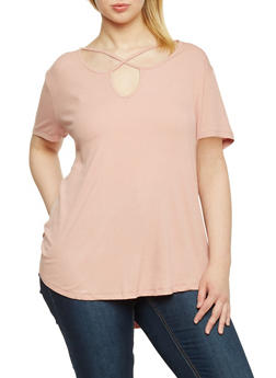 Plus Size Caged Keyhole Rib Knit High Low Top - 8416054269489