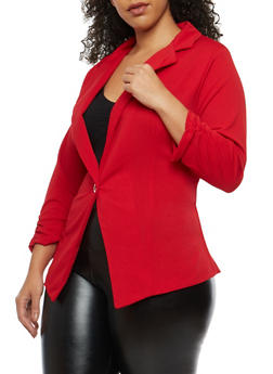 Plus Size Ruched Sleeve Blazer - 8423020626273