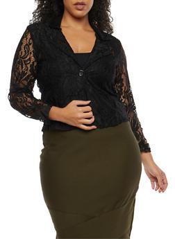 Plus Size Crochet Blazer - 8423064461045