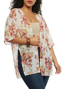 Plus Size Floral Mesh Kimono - 8424020628246