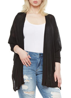 Plus Size Marled Knit Open-Front Cardigan With Dolman Sleeves,BLACK,medium