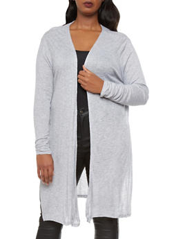 Plus Size Marled Knit Open-Front Cardigan With Slits At Sides,HEATHER,medium