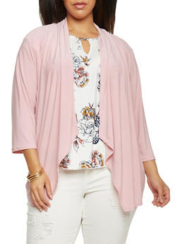 Plus Size Open Front 3/4 Sleeve Cardigan - ROSE - 8424062705119
