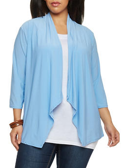 Plus Size Open Front 3/4 Sleeve Cardigan - 8424062705119