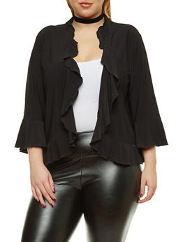 Plus Size Ruffled Shrug - 8424062705788