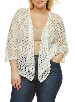 Plus Size Crochet Drape Front Cardigan - 8424062705897