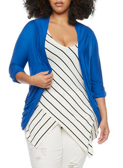 Plus Size ¾ Rolled Sleeve Open Front Cardigan - 8424062706343
