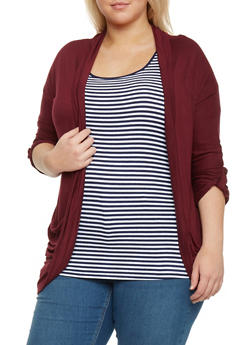 Plus Size ¾ Rolled Sleeve Open Front Cardigan - BURGUNDY - 8424062706343