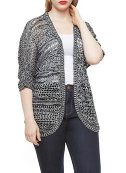 Plus Size Open-Knit Short Sleeve Dolman Cardigan,BLACK,medium