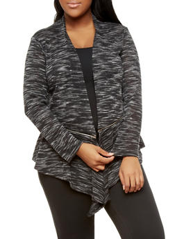 Plus Size Long Sleeve Marled Knit Open Front Cardigan with Zipper Trim,BLACK,medium