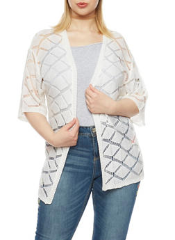 Plus Size Open Front Knit Cardigan with Diamond Pattern - 8424073630248